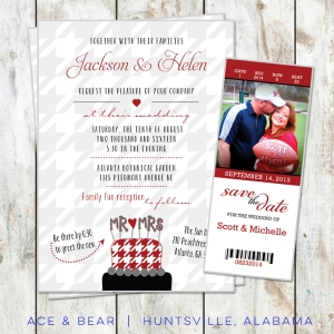 alabama roll tide wedding invitations