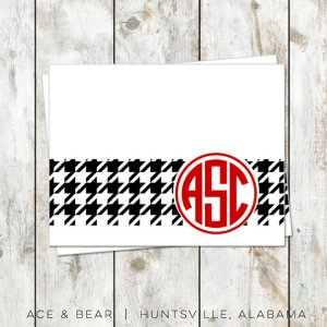 monogram houndsooth stationery