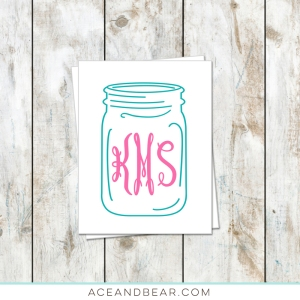 monogram ball jar stationery