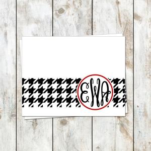 houndstooth monogram stationery
