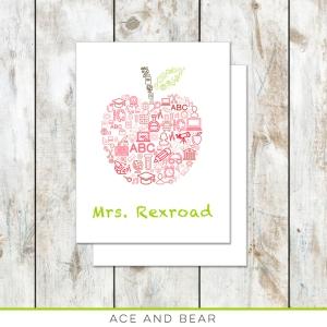 teacher gift apple stationery